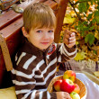 Little boy in autumn park with a suitcase, chocolate and apples — Stockfoto