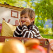 Smiling little boy sitting in a suitcase — Stock Photo