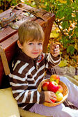 Little boy in autumn park with a suitcase, chocolate and apples — Stock Photo