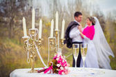 Bride and groom posing at the decorated banquet table in park in — Stock Photo