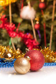 Christmas balls on abstract background — Photo