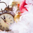 Clock and christmas balls - holiday background — Stock Photo