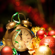 Clock and christmas balls - holiday background — Stock Photo #14042999