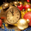 Clock and christmas balls - holiday background — Stock Photo #14043080