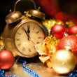 Clock and christmas balls - holiday background — Stock Photo #14043220