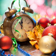 Clock and christmas balls - holiday background — Stock Photo #14043478