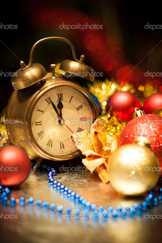 Christmas balls and clock - holiday background — Stock Photo #14043220