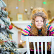 Happy Christmas - Little girl and Christmas tree — Stock fotografie