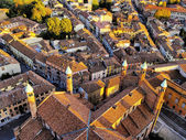 Cremona, view from cathedral tower, Lombardy, Italy — Foto Stock