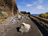 Rock Fall on the Road, Hierro, Canary Islands — Stock Photo