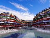 Colorful Hotel in Ibiza, Balearic Islands, Spain — Stock Photo