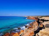 Cala saona, formentera, baleárské ostrovy, španělsko — Stock fotografie