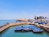 Blue boats in Essaouira, Morocco — Stock Photo