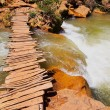 Wooden Bridge on Ouzoud River, Morocco — Stock fotografie