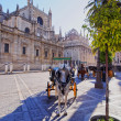 Carriages in front of the Cathedral of Seville, Spain — Stock Photo #35979869