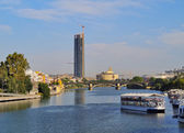 Cajasol Tower and Guadalquivir River in Seville — Stockfoto