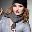 Stock Photo: Girl in the hat and scarf