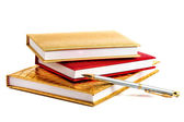 Golden and red notebooks with silver pen — Stock Photo
