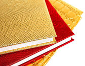 Golden and red notebooks isolated — Stock Photo