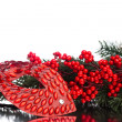 Christmas decoration mask with european holly — Stock Photo