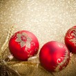 Christmas balls with golden ribbon - Stok fotoğraf