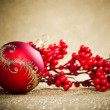 Christmas decoration with european holly - Foto de Stock