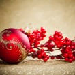 Christmas decoration with european holly - Stockfoto