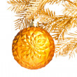 Christmas ball with golden fir-tree — Stock Photo