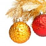 Christmas balls with golden fir-tree — Stock Photo