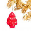 Christmas decoration with golden fir-tree — Stock Photo