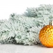 Christmas decoration with fir-tree and snow — ストック写真
