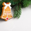 Christmas decoration with fir-tree on grey - Stockfoto