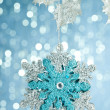 Branch of Christmas tree with decoration snowflake — Stock Photo