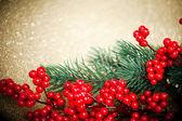 Europese holly anf fir-boom op gouden achtergrond, ondiep dof — Stockfoto