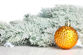 Christmas decoration with fir-tree and snow — Stock fotografie