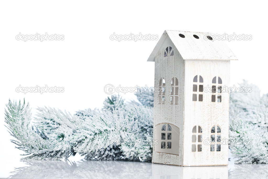 Two-storied house on a festive background  Zdjcie stockowe #16968285
