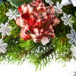 Branch of Christmas tree with bow - Stockfoto