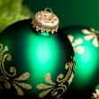 Branch of Christmas tree with festive ball — Stock Photo #17138925