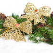 Branch of Christmas tree with bow — Stock Photo