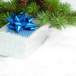 ramo di albero di Natale con scatole regalo — Foto Stock