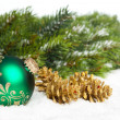 Green ball with golden pinecone — Foto de Stock