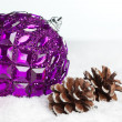 Gift boxes with pinecone and ball — Stock Photo