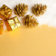 Christmas decoration gift boxes with pinecone and snow - Zdjęcie stockowe