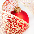 Christmas decoration balls with ribbon - Zdjęcie stockowe