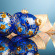 Stock Photo: Christmas decoration balls with ribbon