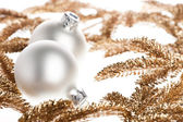 Branch of Christmas tree with festive decoration — Stock Photo