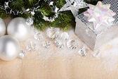 圣诞装饰带礼品盒 — 图库照片
