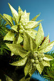 Rama del árbol de navidad con flor de pascua — Foto de Stock