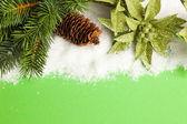 Rama del árbol de navidad con piña y flor de pascua — Foto de Stock
