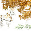 Christmas decoration deer with golden fir-tree — Photo #17886273